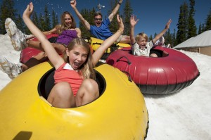 Family tubing in the Spring at Keystone tubing park at Adventure