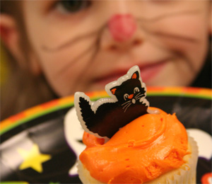 Decorated Halloween cupcake