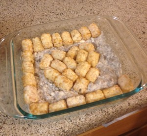 Put the meat in the bottom of a casserole dish, and place your tots around the casserole dish.