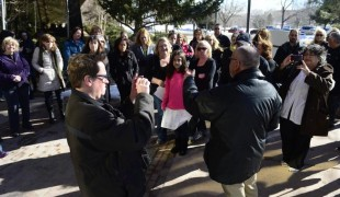Teachers, parents, and students gather outside the Jefferson County Public Schools headquarters in Golden after a morning meeting in early February held by the Jefferson County School Board where Superintendent Cindy Stevenson announced she will leave her post early. (Kathryn Scott Osler, The Denver Post)
