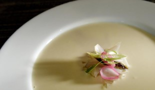 Potato and Maui Onion Soup with roasted shallot, charred and raw scallions, and pickled pearl onion. (Cyrus McCrimmon, The Denver Post)