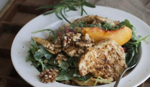 Grilled Chicken Paillard with Peach and Arugula Salad
