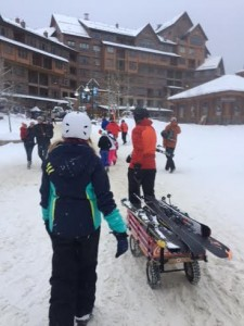 (Winter Park's free wagons for transporting gear)