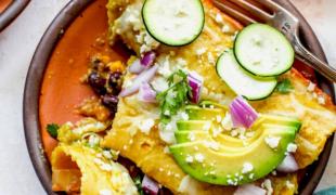 corn and zucchini enchiladas