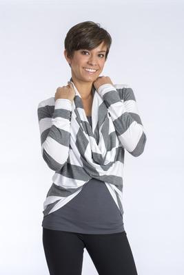 Carolyn Wrap White Stripe Jersey